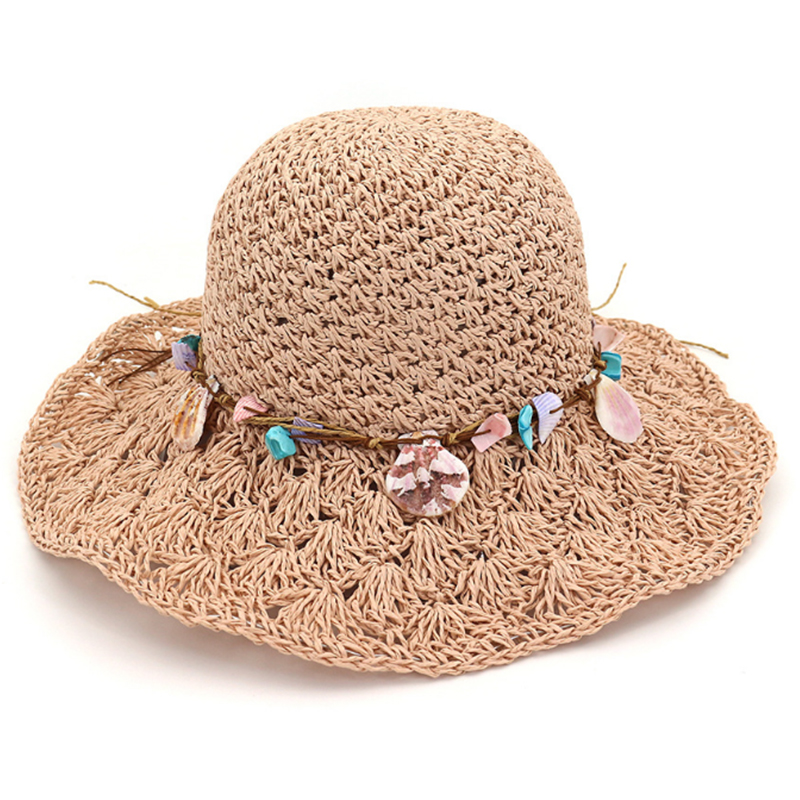Hand made crochet paper string hats with sea shell accessory