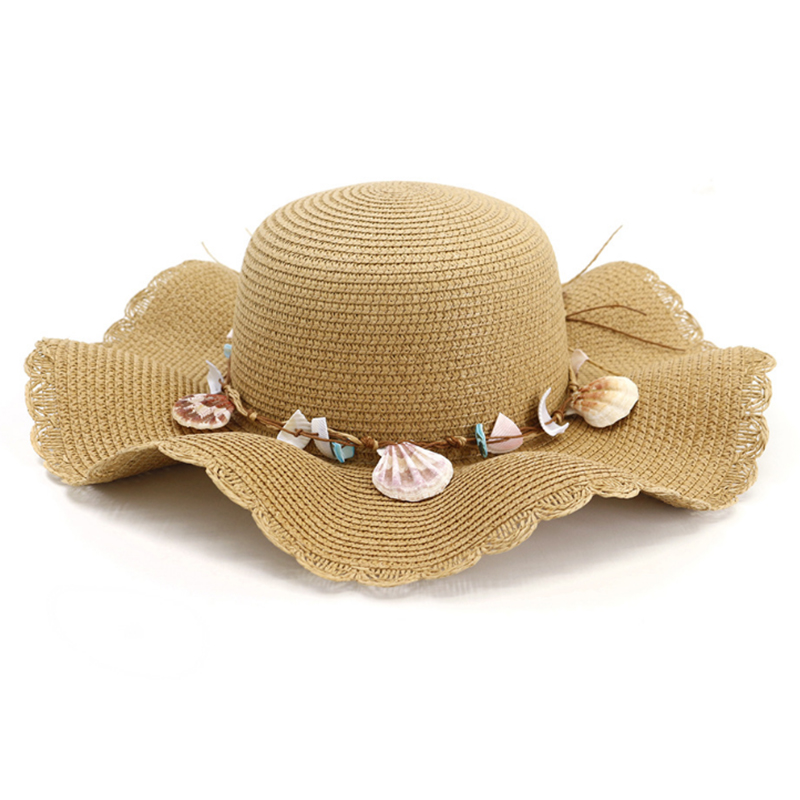 Women's summer paper straw hats with wide wavy brim