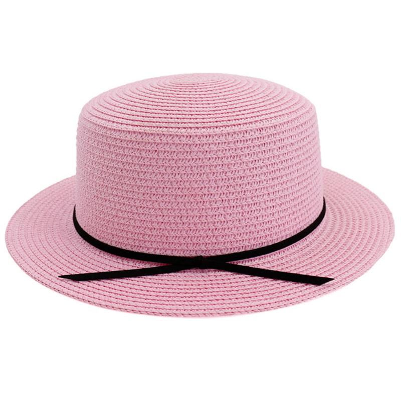 Girls' flat top pork pie style boater hat