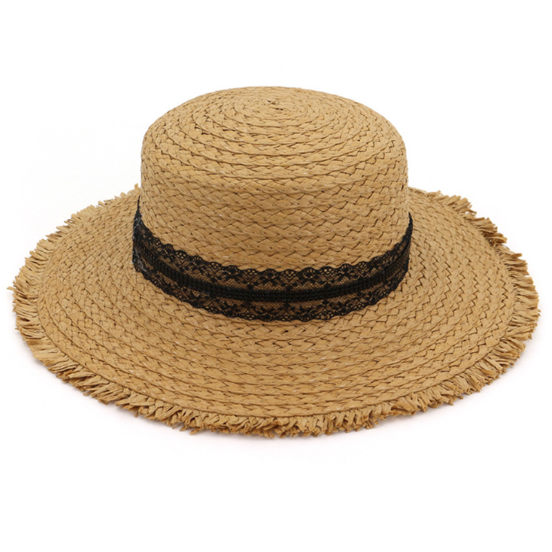 Flat top and wide brim summer straw sun beach hat with lace band
