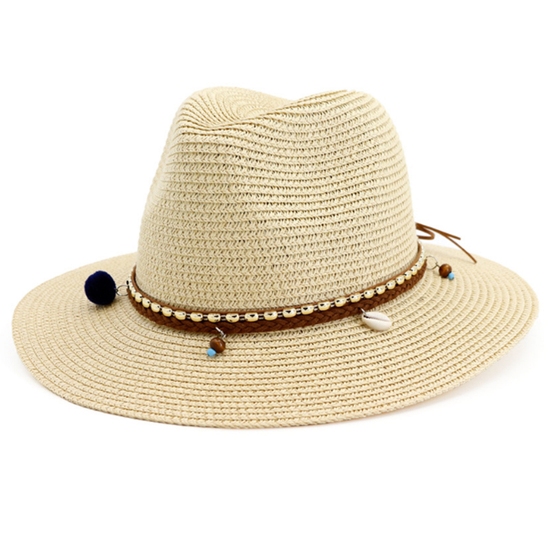 Premium quality paper straw braid panama hat with fashion accessory