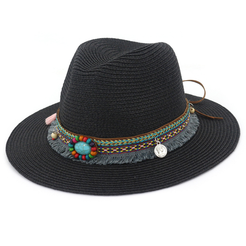 Classic summer straw panama hat with tassel band and beads accessory