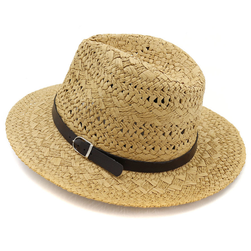 Fashion paper straw summer beach panama hat with leather band