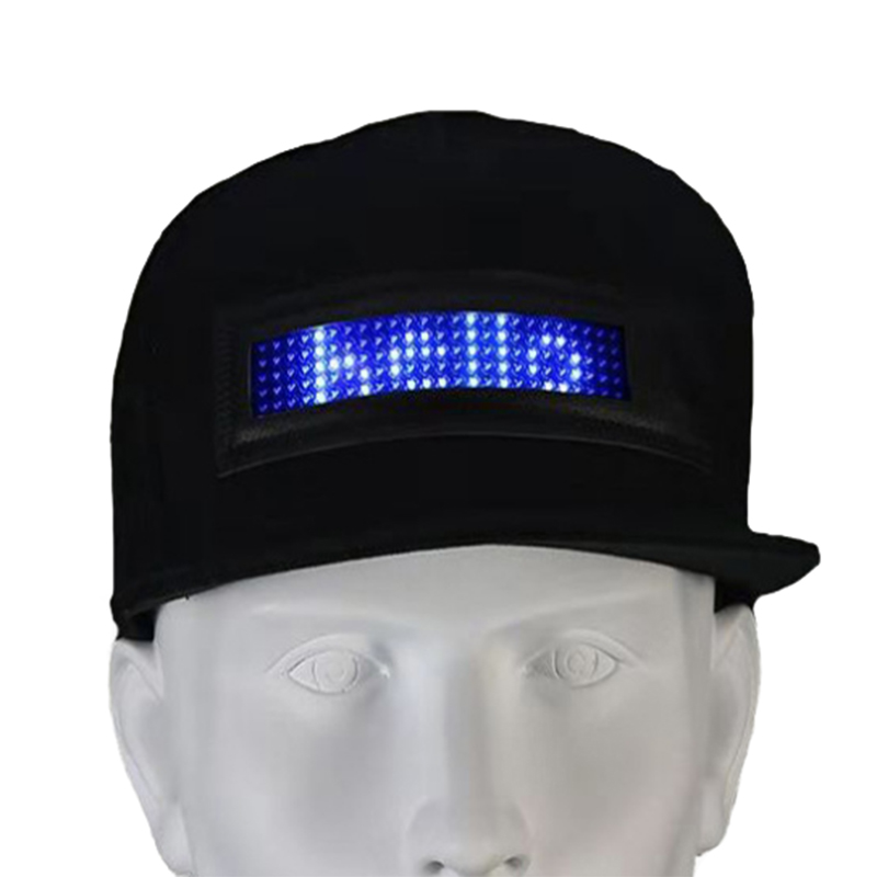 USB rechargeable light up LED hat with scrolling message