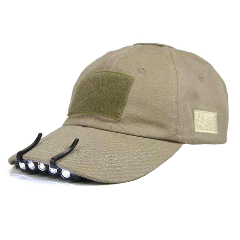 Unisex LED camping and fishing cap with LED lights clip on hat brim