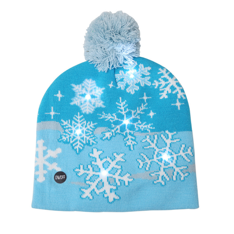Jacquard snowflake design LED lighted winter beanie warm hat