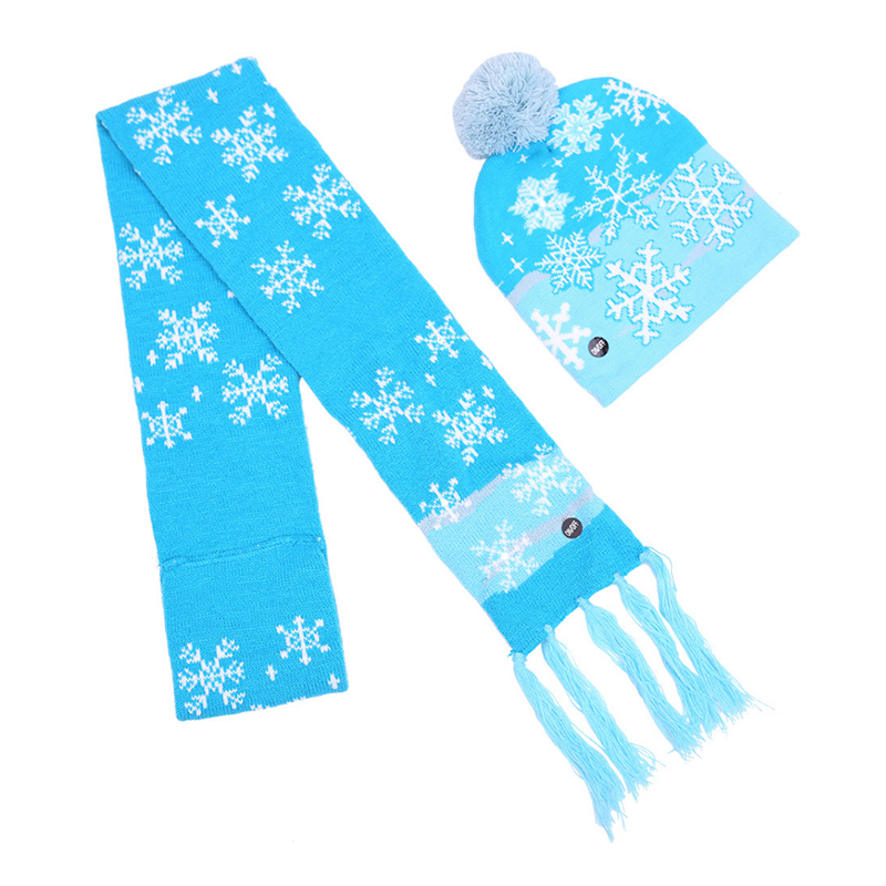 Custom jacquard pattern LED light knitted beanie and scarf set