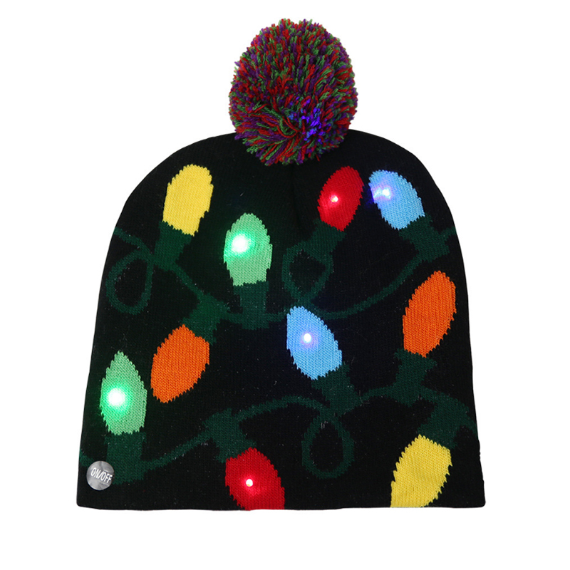Custom LED lights winter knitted beanie party hat