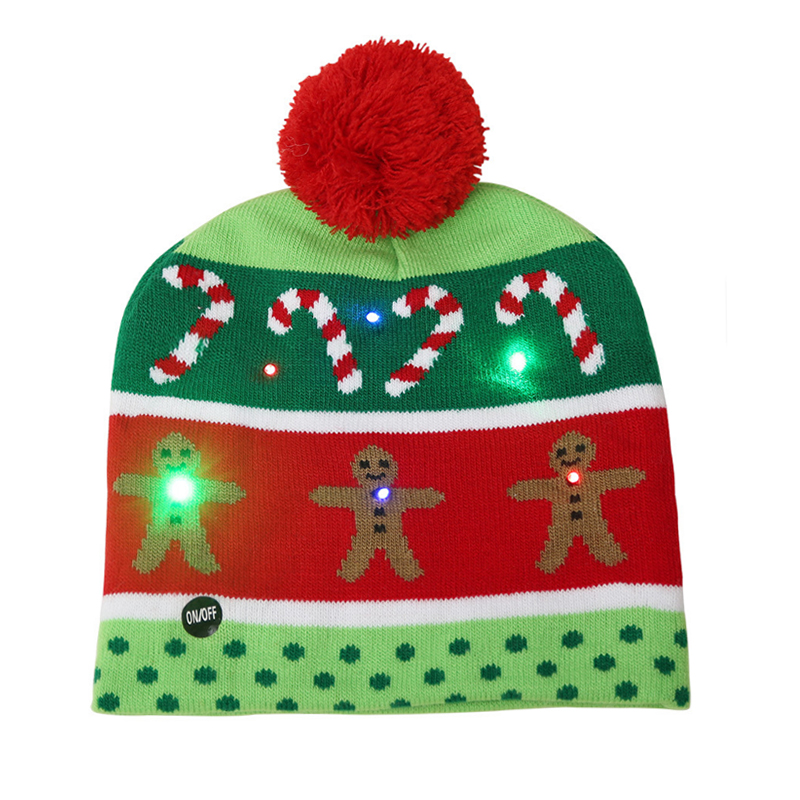 LED light-up Christmas acrylic knitted beanie hat