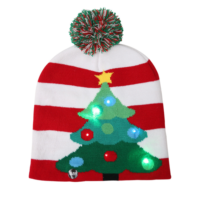 Unisex LED lights knitted beanie hat with jacquard Christmas tree design
