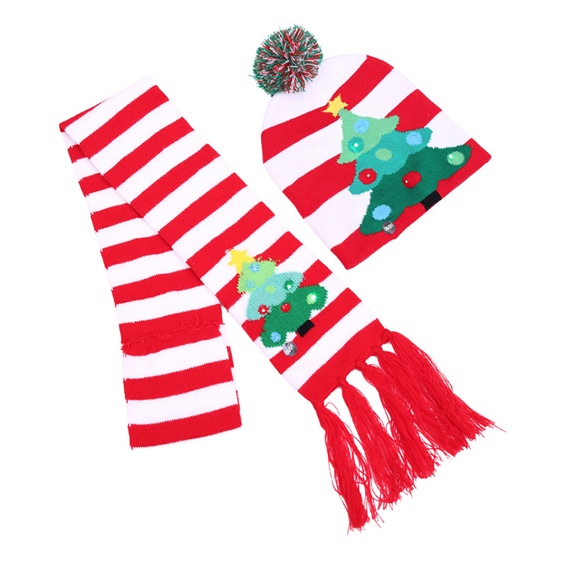 Christmas tree knitted hat and scarf set with flash lights for festival