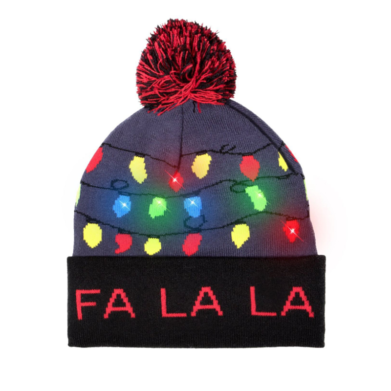 Custom made logo LED knitted toques with cuff and pompom