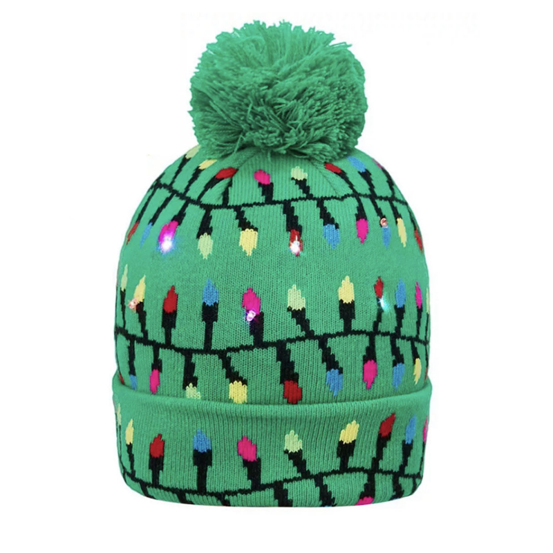 Cuffed acrylic jacquard winter bonnet with flash lights