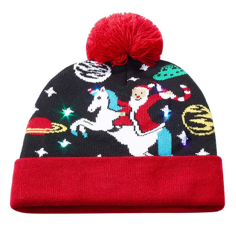 Santa claus LED lights knitted beanie for camping and fishing etc