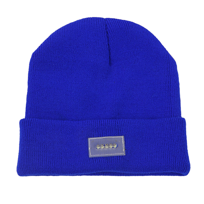Blank promotional 5 LED lights knitted beanie hat