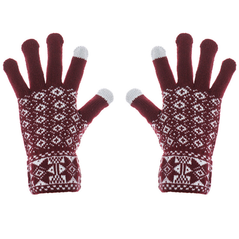 Bespoke jacquard pattern knitted screen touch gloves