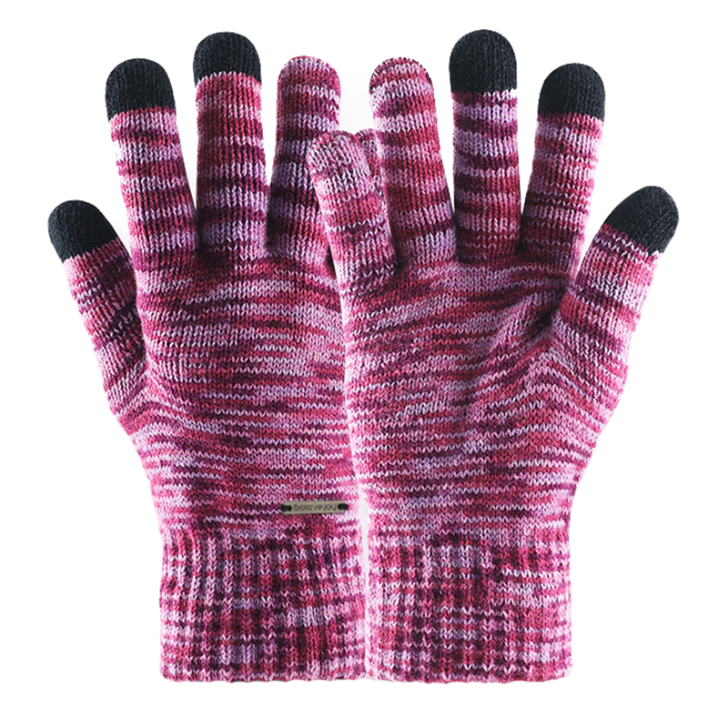 Heather colored full fingers touchscreen knitted gloves for driving, running and cycling etc