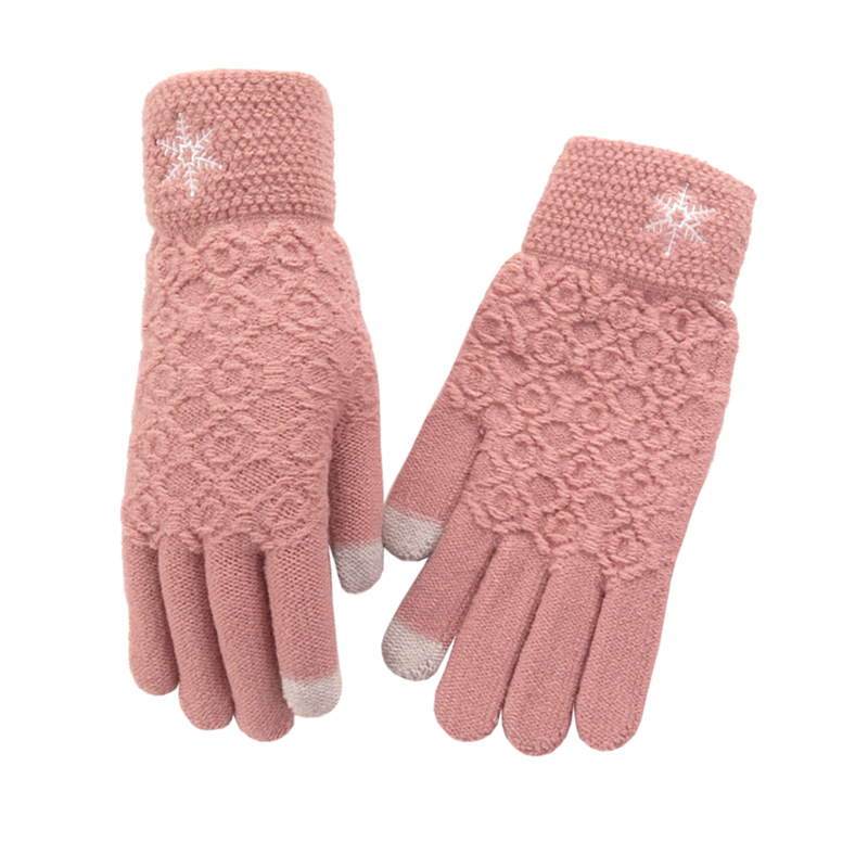 women's jacquard design two fingers touch screen winter gloves