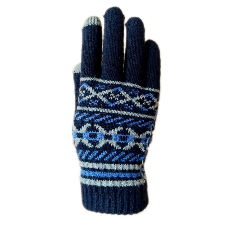 Winter acrylic unisex sport touchscreen  jacquard gloves