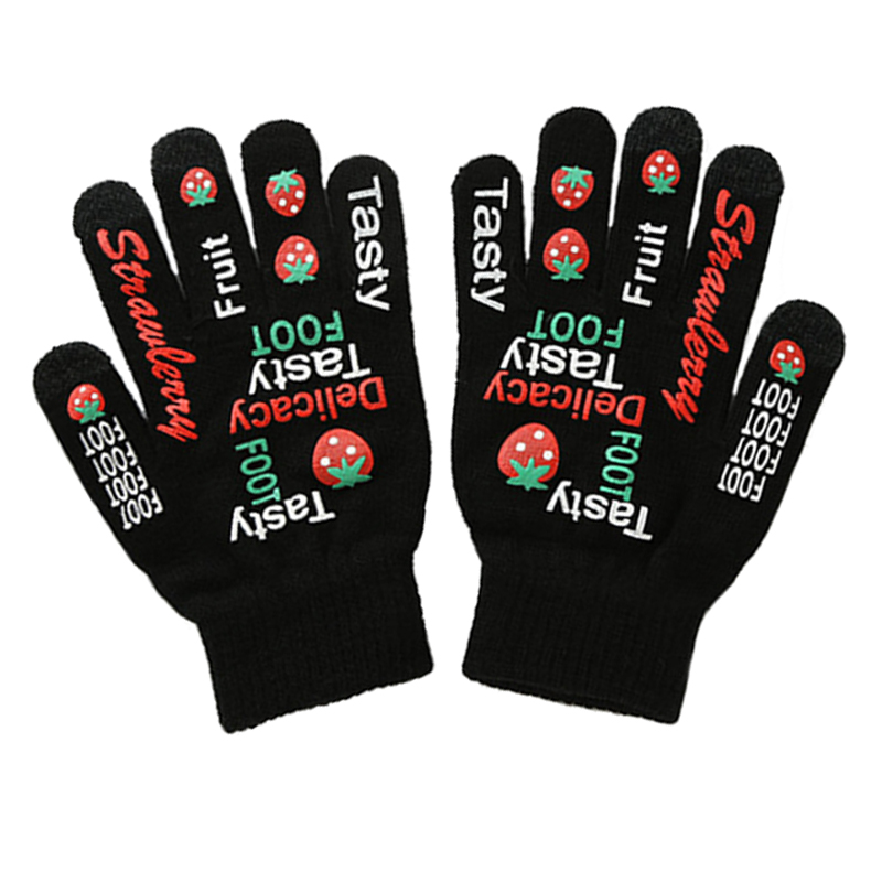 Competitive price advertising promo winter acrylic knitted gloves with printing logo