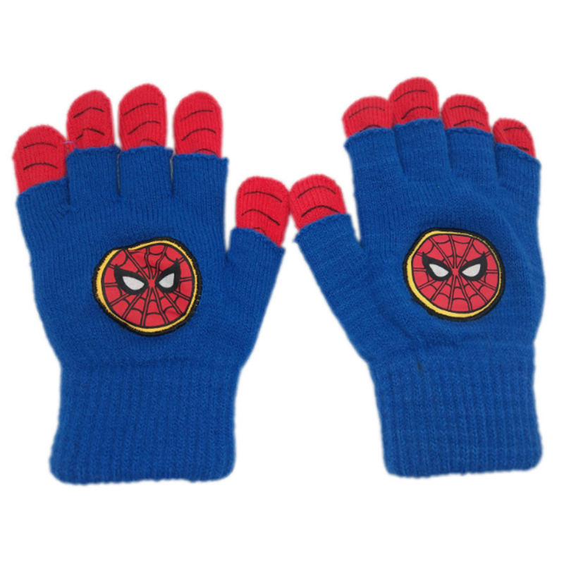 Two tone winter knitted gloves with woven label patch