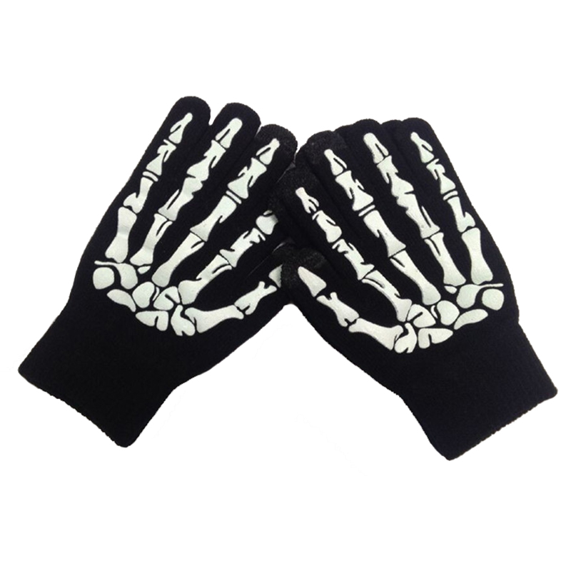 Winter acrylic knitted gloves with luminous logo