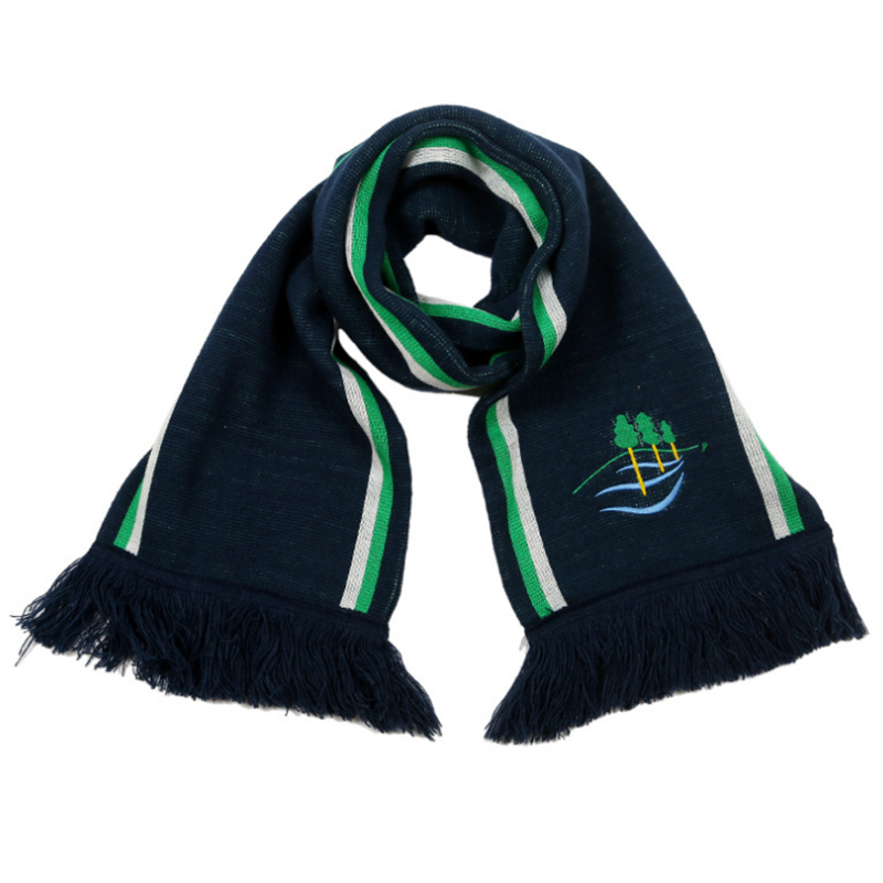 Double layer acrylic scarf with knitted stripes and embroidery logo