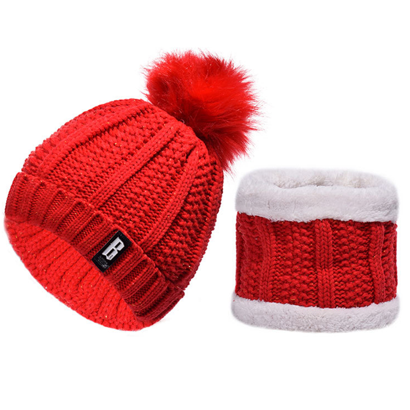 Bold knitted pompom beanie with double layers neck warmer